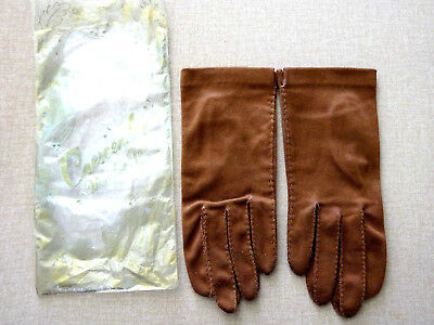 Vintage Womens Crescendoe Brown Wonder Fabric Gloves, Size 7