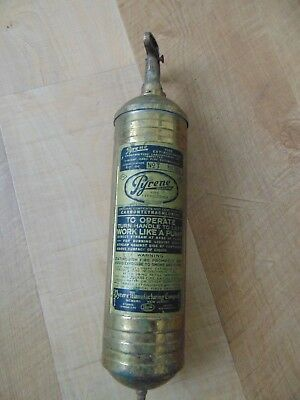 Vintage Brass PYRENE Fire Extinguisher firefighter rescue auto truck boat Empty