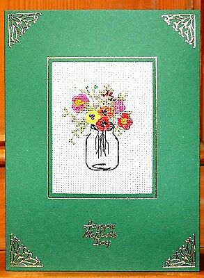 Handmade Completed Cross Stitch Mother's Day Card Vase of Flowers Beads Embellis
