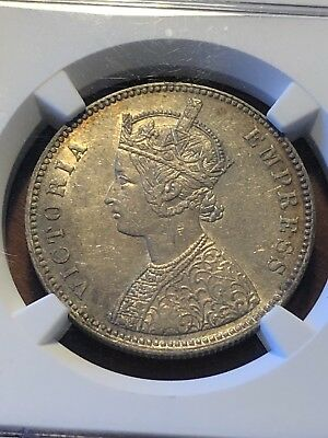 1882 ALWAR British India Princely States,Silver Rupee Queen Victoria, NGC AU58