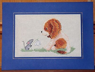 "Handmade Completed Cross Stitch Card Cute Spaniel Puppy Mouse Snowdrop 8"" x 6"""