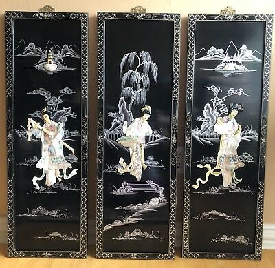 Vtg 3pcs Black Lacquer Mother of Pearl  Woman Asian Oriental In Varied Poses