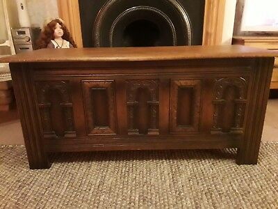 Old Charm Carved Oak Coffer / Blanket Box / storage. Really attractive........
