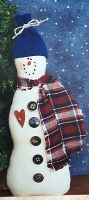 Simple Snowman ~ Hand Crafted Holiday Decorative Snowman Buttons Rusty Tin Heart