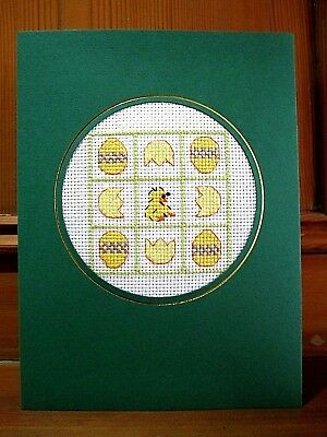 "Handmade Completed Cross Stitch Easter Card 8"" x 6"" Cute Easter Chick"