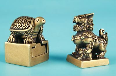 2 Unique Chinese Bronze Statue Seal Turtle Kirin Old Collection Gift