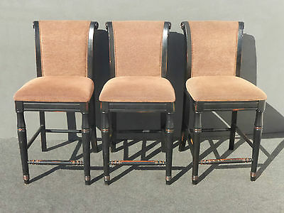 Three Black & Mauve Distressed Barstools by Sino-In Trading Co USA