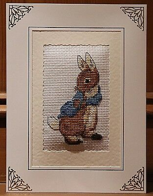 "Handmade Completed Cross Stitch Card 8""x6"" Beatrix Potter Peter Rabbit"