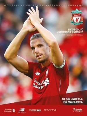 LIVERPOOL v NEWCASTLE OFFICIAL MATCH PROGRAMME 2018/19 BRAND NEW MINT CONDITION