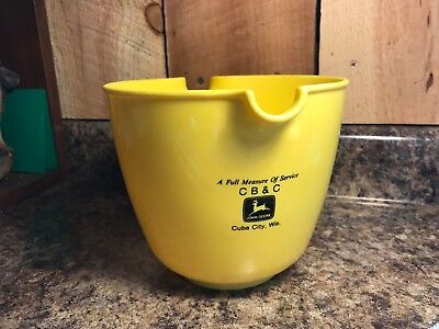 Vintage John Deere Yellow Plastic Mixing Bowl with Handle and Pour Spout