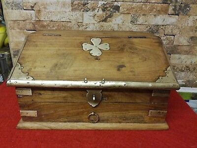Vintage Wood And Brass Writing Box