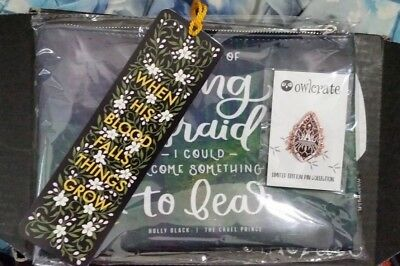 The Wicked King Owlcrate box items: Enamel Pin, Zipper Pouch, and Bookmark