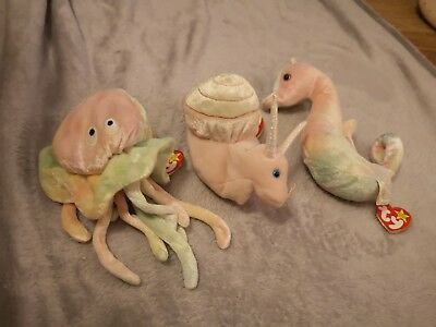 Goochy, Swirly & Neon TY Beanie Babies - great condition tags inc not attached