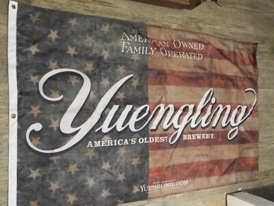 """Yuengling 58""""x 36"""" Double sided Flag,With Us Flag In Background.Man cave beer"""