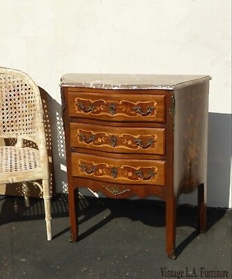 Vintage French Louis XVI Marble Chest of Drawers Dresser w Brass Made in France
