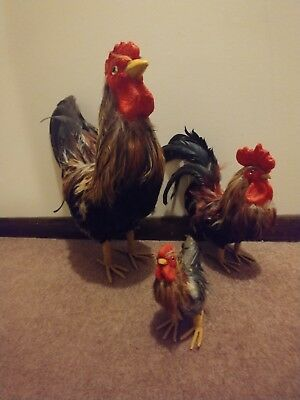 Set of 3 Real Feather Large Rooster Figures