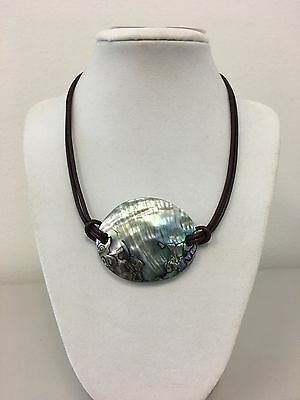 """New Big Chunky Abalone Shell Mother of Pearl pendant Leather Cord necklace 17"""""""