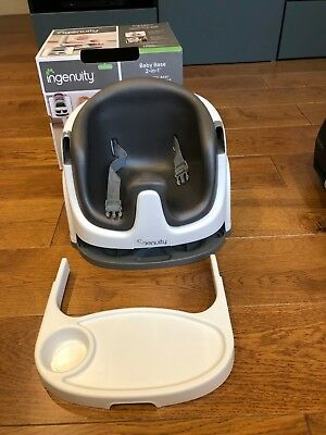 Ingenuity Baby Base 2 in 1 Booster seat, Slate, with tray.  Good condition.
