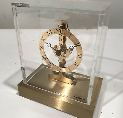 Bucherer Brass Clock Quartz Vintage Modern Under Dome Non Running