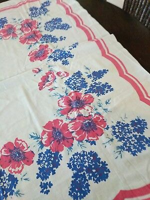 Vintage Cotton Floral Tablecloth - Red & Blues & Lt. Blue On White 48 X 46""