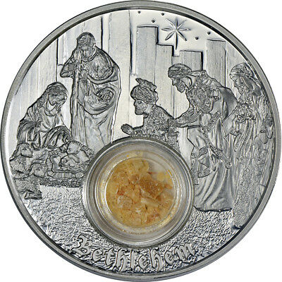 Niue Footsteps of Jesus Bethlehem 1oz Proof Silver Coin, soil from the holy land
