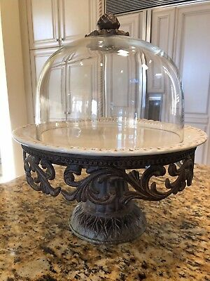 The GG Collection Gracious Goods Acanthus Leaf Cake Stand with Glass Dome