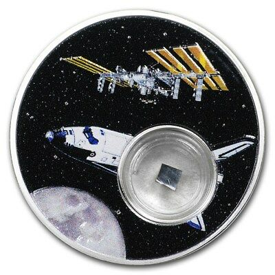 Niue Moon Landing Space Shuttle 1oz Proof Silver Coin w/ space flown insulation
