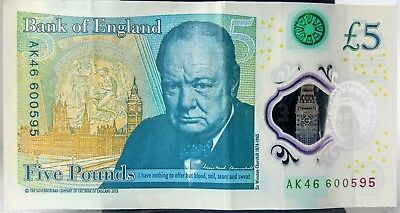 Very Rare Ak46 £5 Bank Note Low Numbered Used Good Clean Folded/Creased Conditio