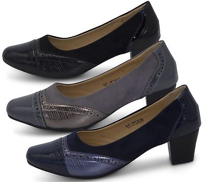 Womens Court Shoes Low Block Heel Ladies Mary Jane Slip On Office Patent Boot