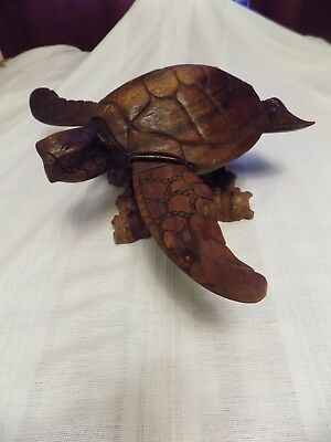 Sea Turtle Figurine Hand Carved wood Wooden Nautical Tropical Decor Ocean Animal
