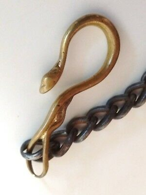 """Antique VICTORIAN Edwardian 1-3/8"""" SNAKE HEAD HOOK Clasp POCKET WATCH FOB +Chain"""
