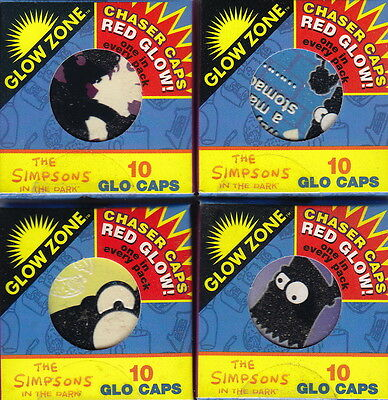 THE SIMPSONS: Series 2 Glo Caps ~ 4 x Sealed Packs (10) by Glow Zone [1995] #NEW