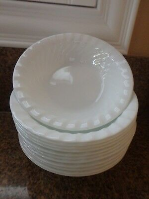 "4 CORELLE ENHANCEMENTS Frost White ""Swirl"" 7-1/4"" Cereal/Salad/Soup Bowls—B"