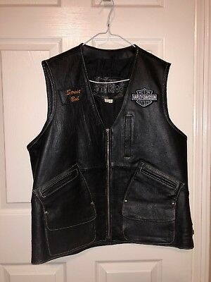 Harley Davidson Motor Cycles Leather Vest Size L
