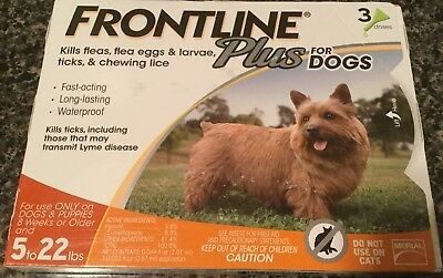 Frontline Plus Flea & Tick Control for Dogs 5-22 Lbs,3 Month Supply - New In Box