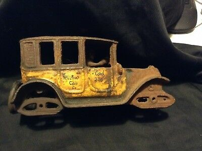 Vintage Cast Iron Toy Car Yellow Taxi Cab Cad 3333