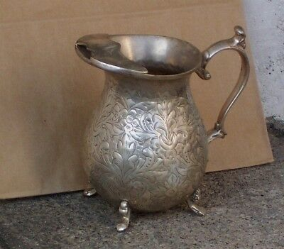 Vintage Silver-Plate Footed Pitcher W/  Incised Floral Leaf Decoration Good Cond