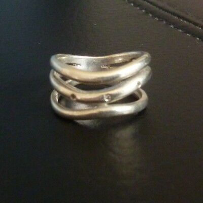 Sterling Silver Ladies Triple Band Ring with 3 Diamonds Size N 6.3g