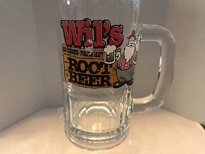 """Vintage Wil's Old Fashioned Draft Root Beer Soda Logo Heavy Glass Mug  6"""" Tall"""