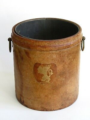 Mid Century English Leather Umbrella Stand Metal Lined With Brass Handles