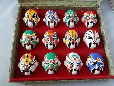 Vintage Japanese Kabuki Masks Set 12 Mini Painted Theater Authentic Box Display