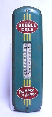 Nice Vintage 1950's Metal Advertising Double Cola Soda Thermometer