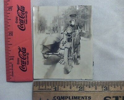 Vintage Photo Harley Davidson Motorcycle with Sidecar and Pennant