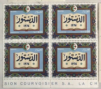 "Vintage Block of 4 Algeria 1976 ""The Constitution"" Postage Stamps Mint Condition"