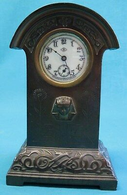 Fabulous little Mission / Arts and Crafts / Egyptian style faux bronze clock