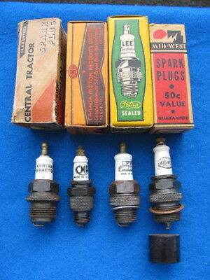 Vintage CENTRAL TRACTOR, CMP, LEE, MID-WEST spark plugs with BOXES