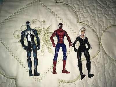SPIDER-MAN Marvel Universe 3 Action Figure Lot BLACK CAT & BLACK SUIT SPIDERMAN