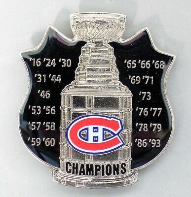 Montreal Canadiens - Nhl Stanley Cup Championship Shield Pin - All Years - New!