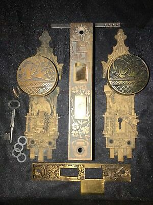 Antique Russell & Erwin Two Birds Knobs/Geisha Backplates Complete Set