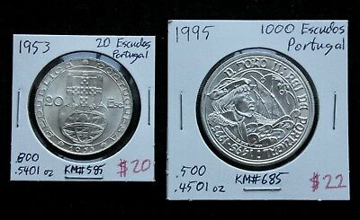 Portugal Silver Coin Lot: Two Silver Coins from Portugal